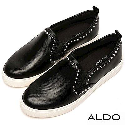 ALDO 原色彈性鬆緊帶綴鉚釘厚底休閒懶人鞋~個性黑色