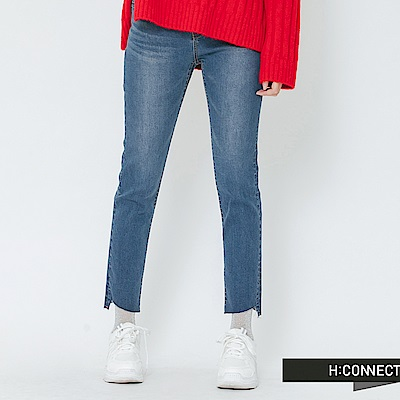 H:CONNECT 韓國品牌 女裝-縫線造型繡字牛仔褲-藍
