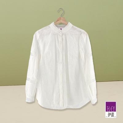 ILEY伊蕾 棉質刺繡立領襯衫(白)