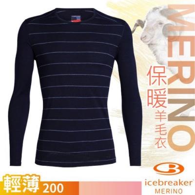 Icebreaker 男 200 Oasis 美麗諾羊毛輕薄款長袖圓領上衣_深藍條紋