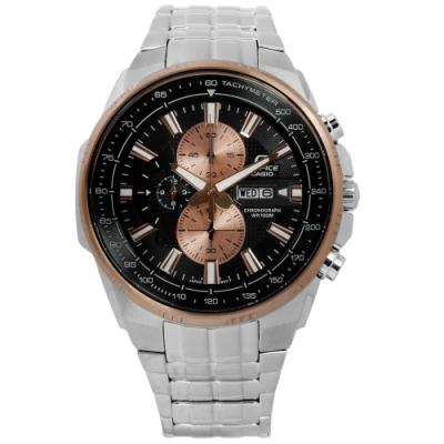 EDIFICE CASIO 卡西歐完美進化三環不鏽鋼手錶-黑x玫瑰金框x銀/47mm