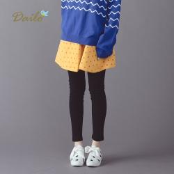 【Dailo】點點假兩件內搭-褲裙(黃色)