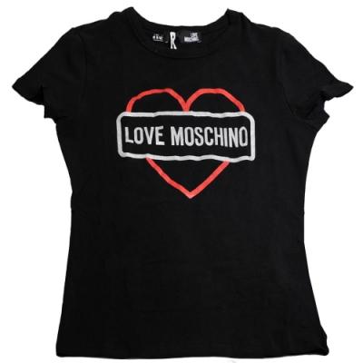 LOVE MOSCHINO 粉彩愛心字母LOGO棉質短袖T恤(黑色/42號)
