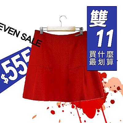ICHE衣哲-百搭簡約打褶紅短裙