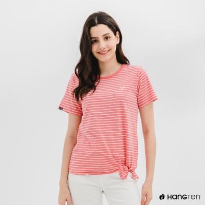 Hang Ten-女裝-有機棉鯨魚刺繡下擺綁結條紋短袖T恤-粉白條紋