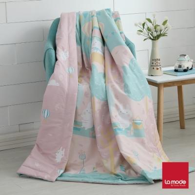 La mode寢飾 櫻花嘉年華環保印染100%精梳純棉涼被(單人)