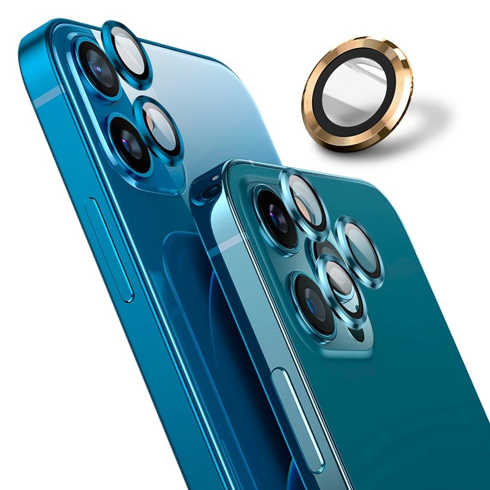 【Ayss】藍寶石鏡頭保護貼 iPhone 12 Pro/莫氏硬度9/金屬邊框/鏡頭全包覆式/AR光學玻璃/疏水疏油-3入-金