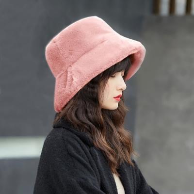 幸福揚邑 韓版時尚保暖毛絨漁夫帽盆帽平頂帽-粉