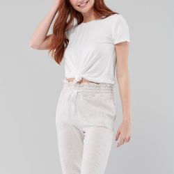 海鷗 Hollister HCO 刺繡海鷗圓領圓弧下襬素面短袖T恤(女)-白色
