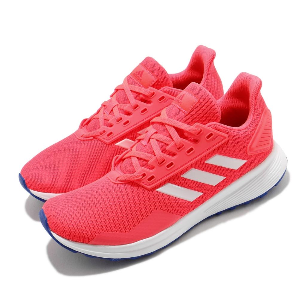 adidas 慢跑鞋 Duramo 9 K 運動休閒 女鞋 愛迪達 路跑 輕量 緩震 透氣 中大童 紅 白 FV8823