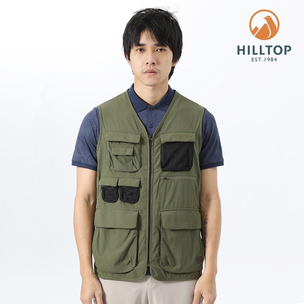 【hilltop山頂鳥】男款防潑水多口袋機能背心S03M27綠