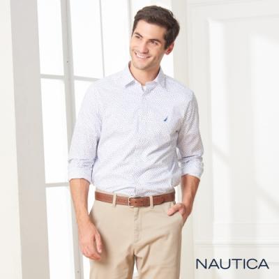 Nautica小花紋長袖襯衫-白色