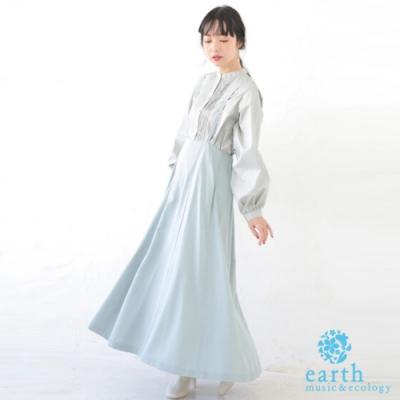 earth music 【SET ITEM】高腰吊帶長裙+長袖開襟襯衫