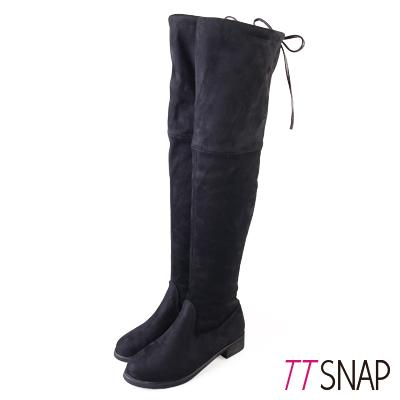 TTSNAP長靴-激瘦美型絨面高彈力過膝靴 黑