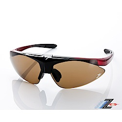 【Z-POLS】MIT頂級可掀設計黑紅漸搭配帥氣茶PC防爆片頂級運動眼鏡