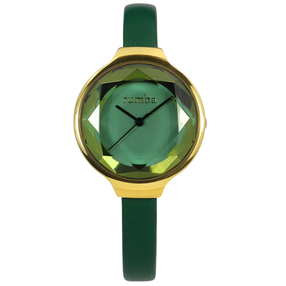 rumba time 紐約品牌 切割玻璃鏡面 真皮手錶-綠x金框/30mm