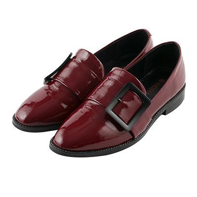 BESO 紳士品味 金屬大方釦樂福紳士鞋~紅