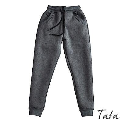 刷絨縮口休閒褲 共二色 TATA