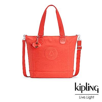 Kipling 手提包 螢光澄素面 -大