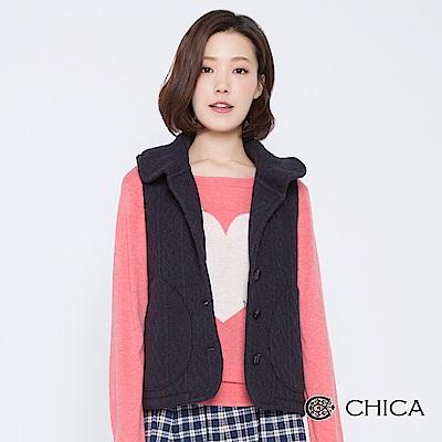 CHICA 英倫學院麻花織紋羊毛背心外套(3色)