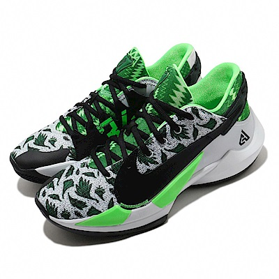 Nike 籃球鞋 Freak 2代 EP 低筒 男鞋 Zoom 字母哥 Naija 球鞋 34號 綠 黑 DA0908002