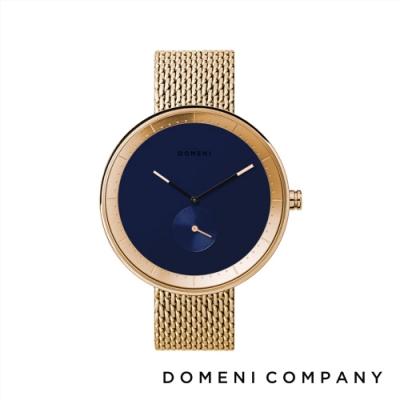 DOMENI COMPANY 經典系列 316L不鏽鋼單眼錶 金色錶帶 -藍/40mm