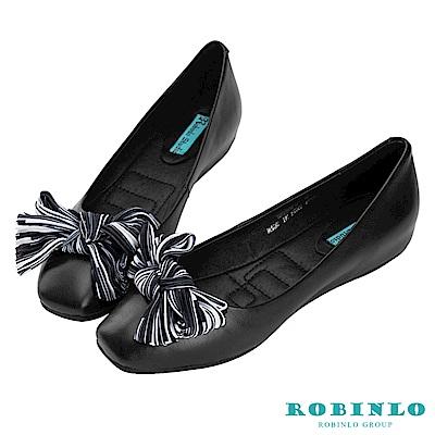 Robinlo 俏皮綁帶蝴蝶結方頭平底娃娃鞋 黑