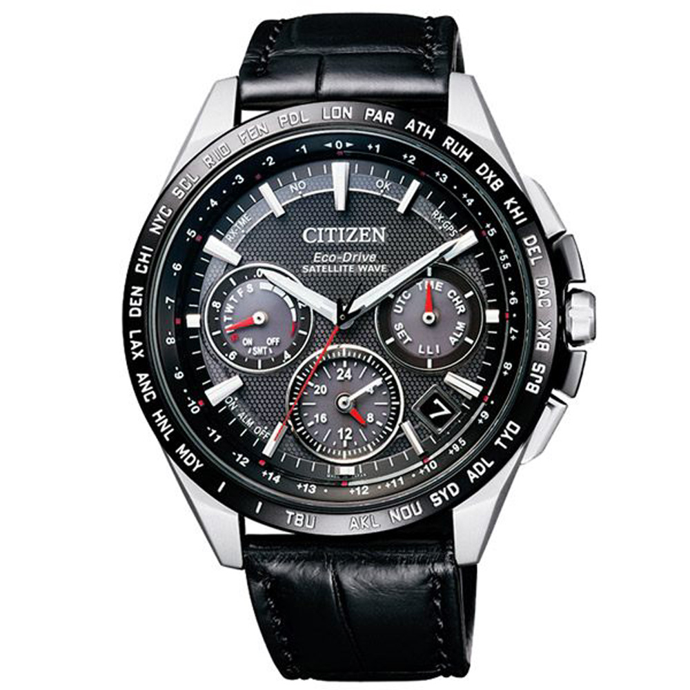 CITIZEN 廣告款 GPS衛星光動能皮腕錶43mmCC9015-03E