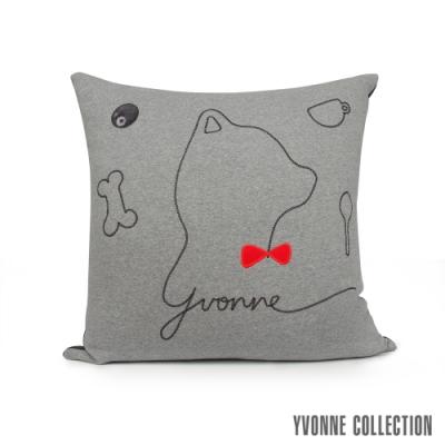 YVONNE COLLECTION 紳士剪影狗方形抱枕(60x60cm)-岩石灰