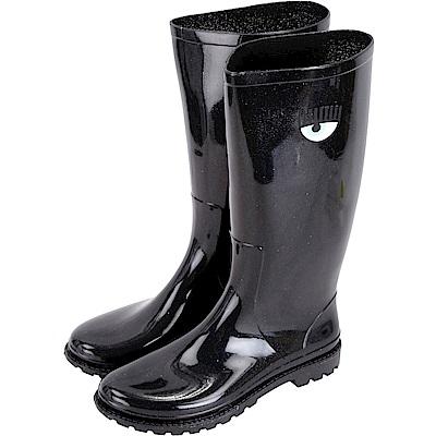 Chiara Ferragni Rainboot 眨眼圖騰長筒雨靴(亮片黑)