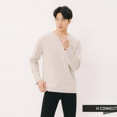 H:CONNECT 韓國品牌 男裝 - 自然風格素面上衣-卡其