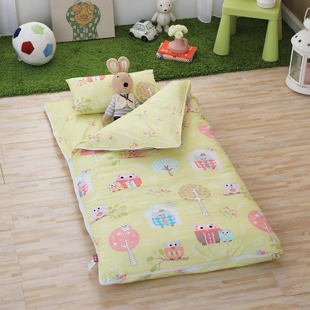 IN HOUSE-Owl-city(黃)-200織紗精梳棉-兒童睡袋