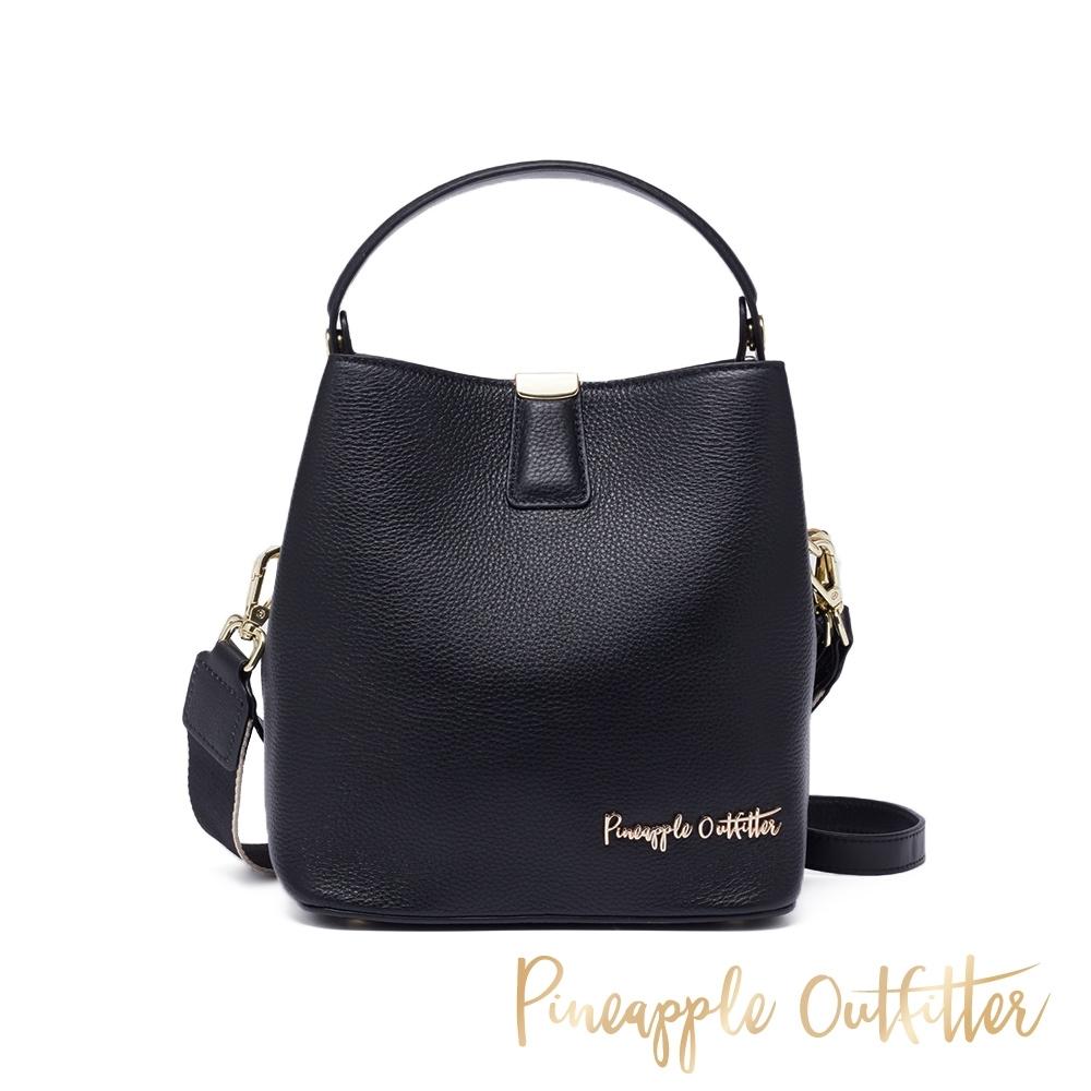 Pineapple Outfitte-YETTY 牛皮典雅兩用手提包-黑色
