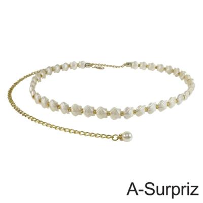 A-Surpriz 典雅扇貝珍珠隔鑽腰鍊(米白)