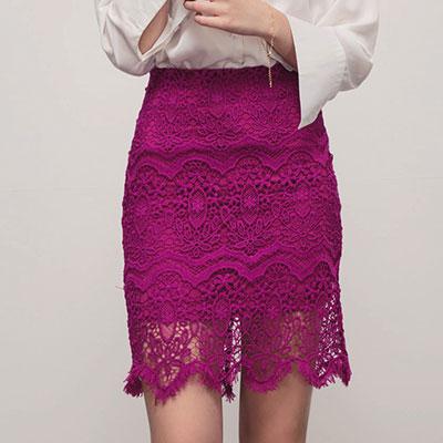 AIR SPACE 優雅高腰花朵蕾絲窄裙(紫)