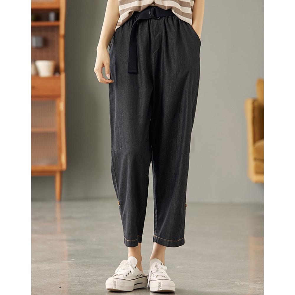 牛仔褲高腰顯瘦直筒哈倫褲贈腰帶-設計所在 (黑色)
