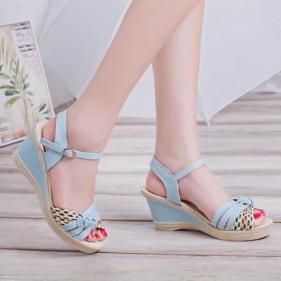 KEITH-WILL時尚鞋館 獨家價瘋搶舒適美腿坡跟涼鞋-藍