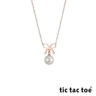 tic tac toe 白鋼女項鍊 蝴蝶結珍珠 TA-1408RG