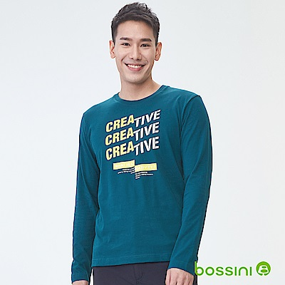 bossini男裝-印花長袖T恤09綠松色