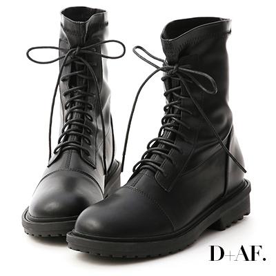 D+AF 率性首選.超軟皮革綁帶中筒靴*黑
