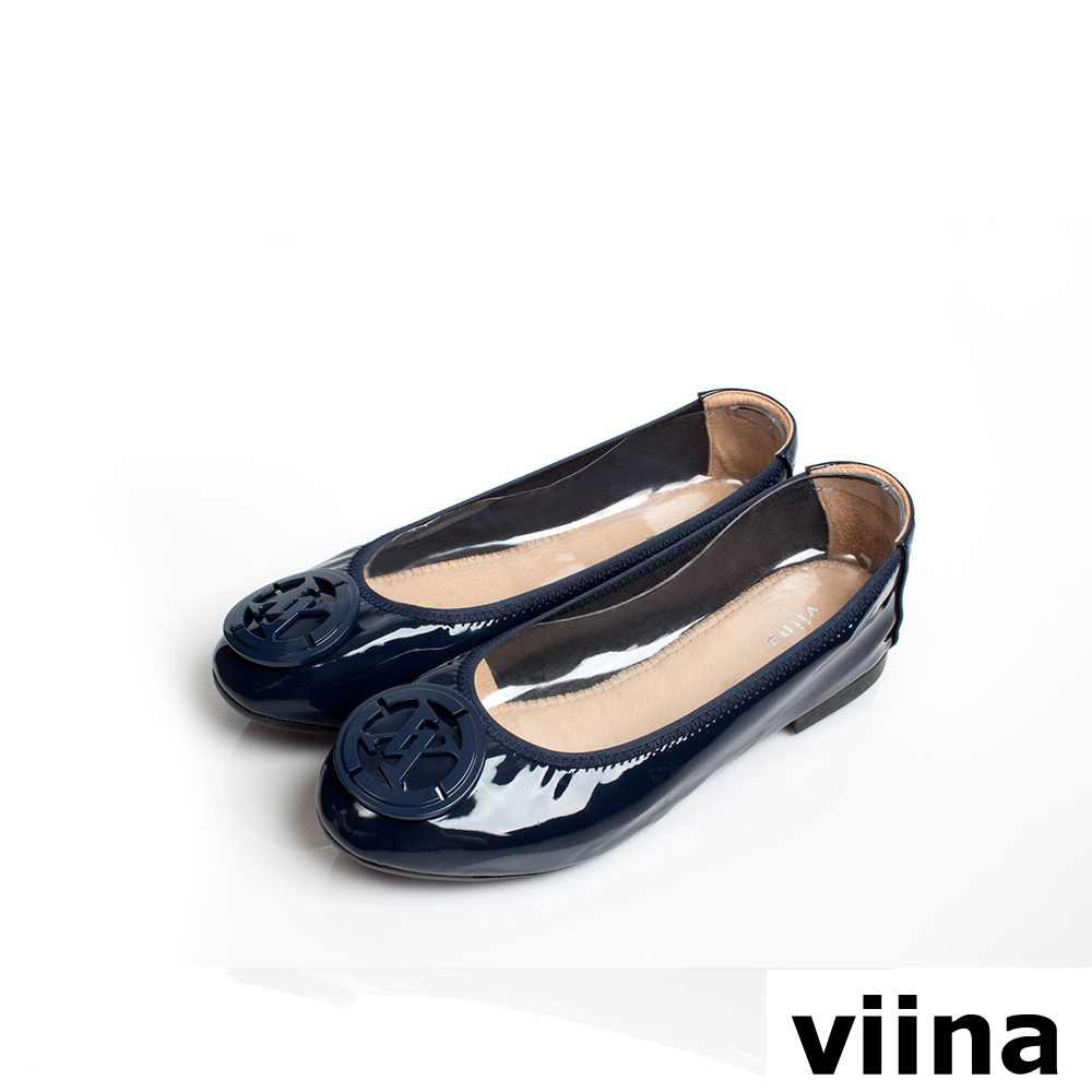 viina經典LOGO鏡面釦漆皮摺疊鞋MIT-深藍