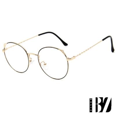 BeLiz 貓眼麻花 圓框細金屬平光眼鏡 黑金