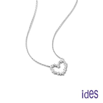 ides愛蒂思 日韓時尚設計純銀晶鑽項鍊鎖骨鍊/璀璨愛心