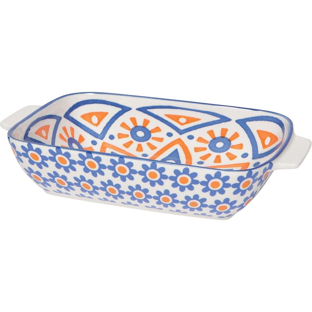 《NOW》圖騰陶瓷長形深烤盤(繁花橘23cm)