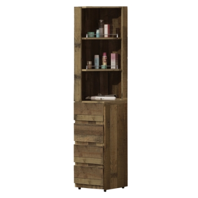 【AT HOME】美式輕工業1.1尺厚切木紋化妝櫃/立櫃/收納櫃(雀巢)