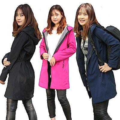 【Incare】防風防雨連帽加絨保暖長版外套(3色可選)