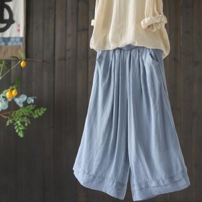 高腰垂感苧麻寬鬆復古雙層七分褲子五色-設計所在