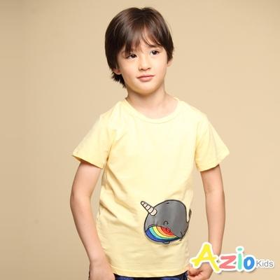 Azio Kids 男童 上衣 可愛鯨魚貼布短袖上衣T恤(黃)