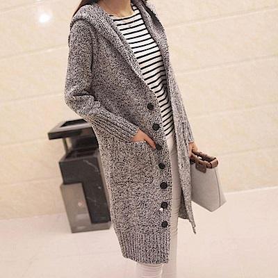 La Belleza七大釦連帽混色雙口袋針織毛衣長版外套(淺灰)