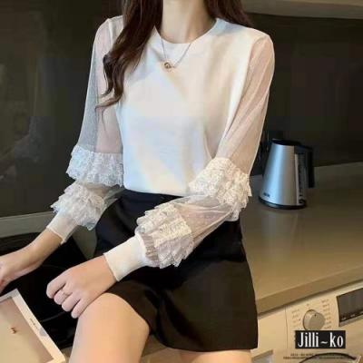 JILLI-KO 袖身蕾絲拼接針織衫- 黑/白
